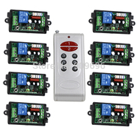 AC220V 1 CH 1CH RF Wireless Controller Remote Control Switch System 8CH Transmitter 8 X Receivers
