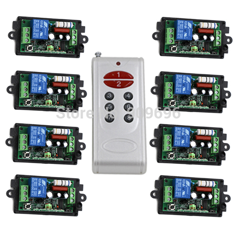 AC220V 110V 1CH RF Wireless Controller Remote Control Switch System,8CH Transmitter + 8 X Receivers,Toggle/Momentary,315/433.92 ac 85v 250v 1ch rf wireless remote control switch system 1 transmitters