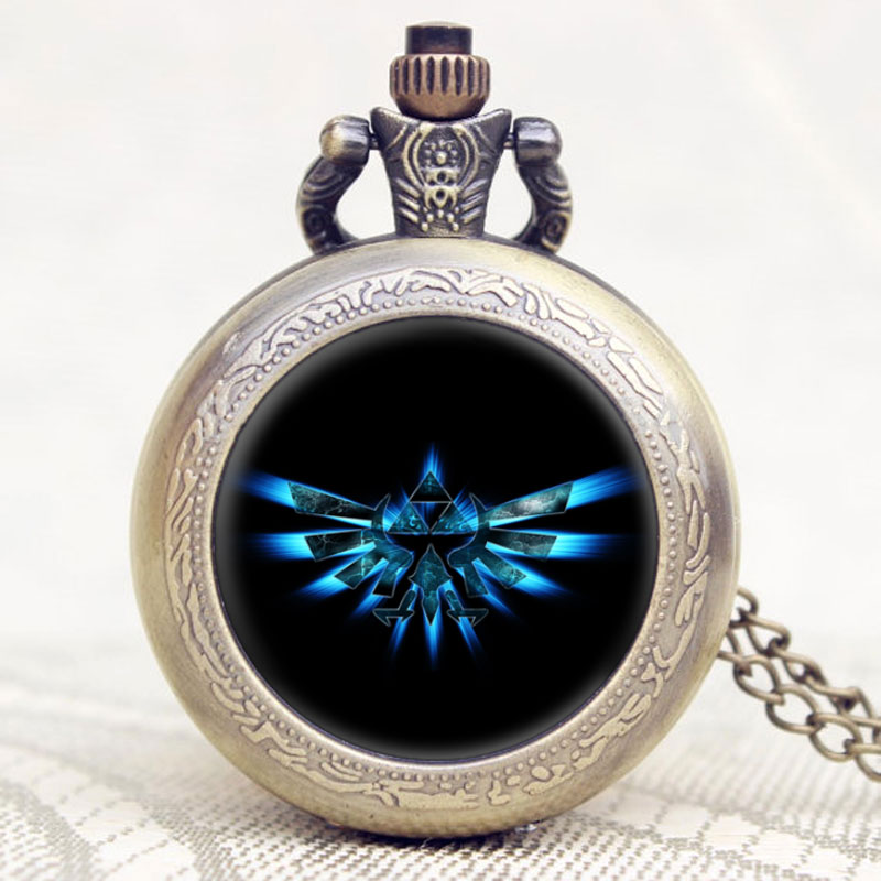 Hot Game The Legend of Zelda Extenison Symbol Glass Dome Design Pendant Pocket Watch With Chain Necklace old antique bronze doctor who theme quartz pendant pocket watch with chain necklace free shipping