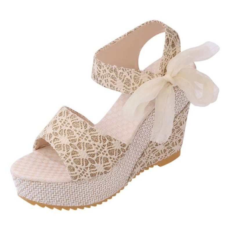 Women Sandals Summer Wedges Women s Sandals Platform Lace Belt Bow Flip Flops open toe high