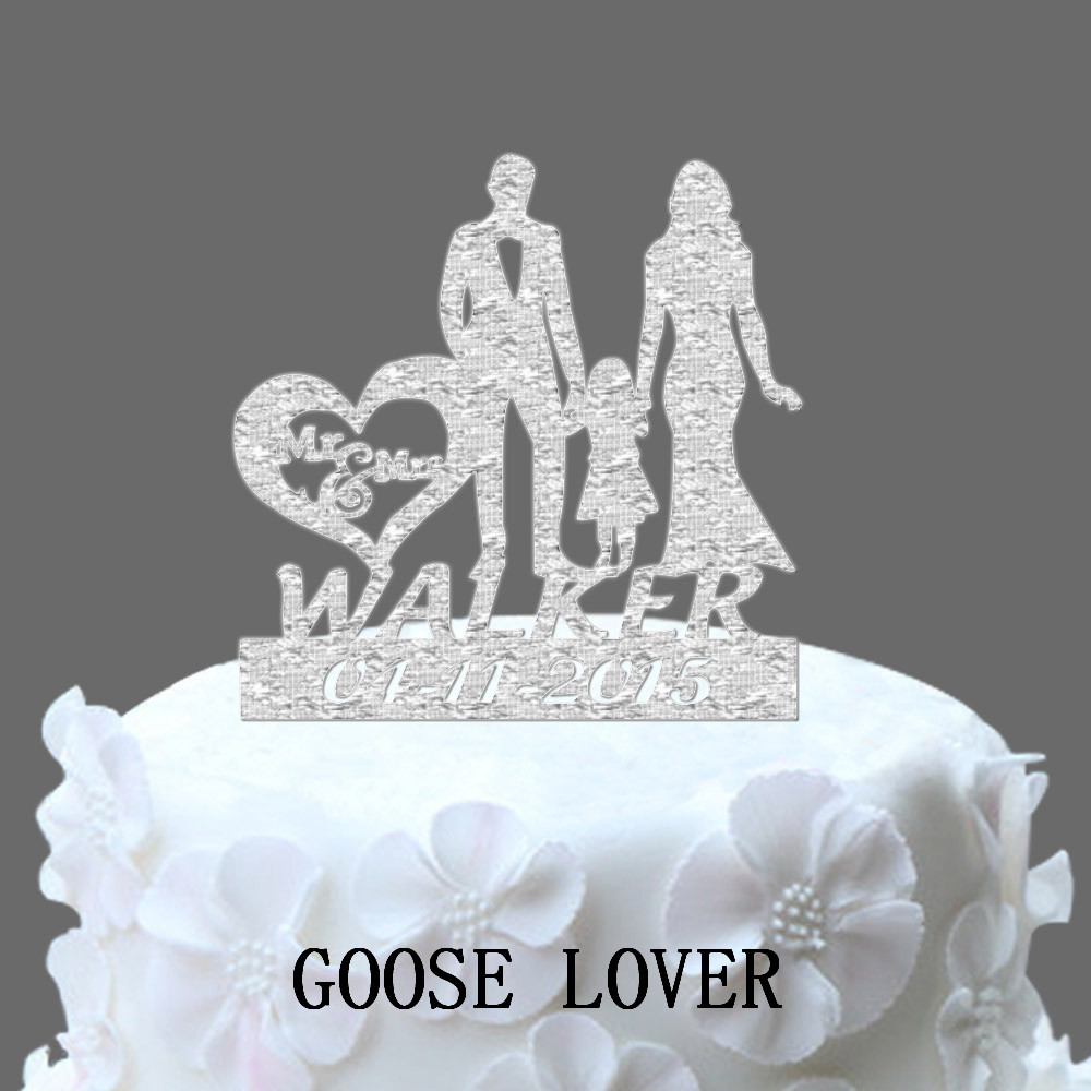 Personalized Name And Date Wedding Cake Topper, Bride And -8286