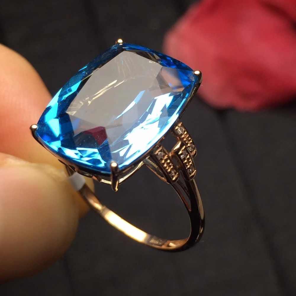 Belas Jóias 322 Real AU750 18 K Ouro Rosa Jóias 100% Natural Topázio Azul Gemstone Anéis para As Mulheres do Sexo Feminino Fina anel