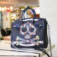 2016 Genuine Leather Luxury Women Designer Handbags Brand Japan South Korea Fashion Tote Chains Color Skull