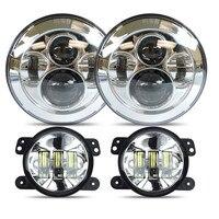 DOT Approved 7'' Daymaker LED Headlights + 4 '' inch LED Fog Lights For Jeep Wrangler JK TJ LJ