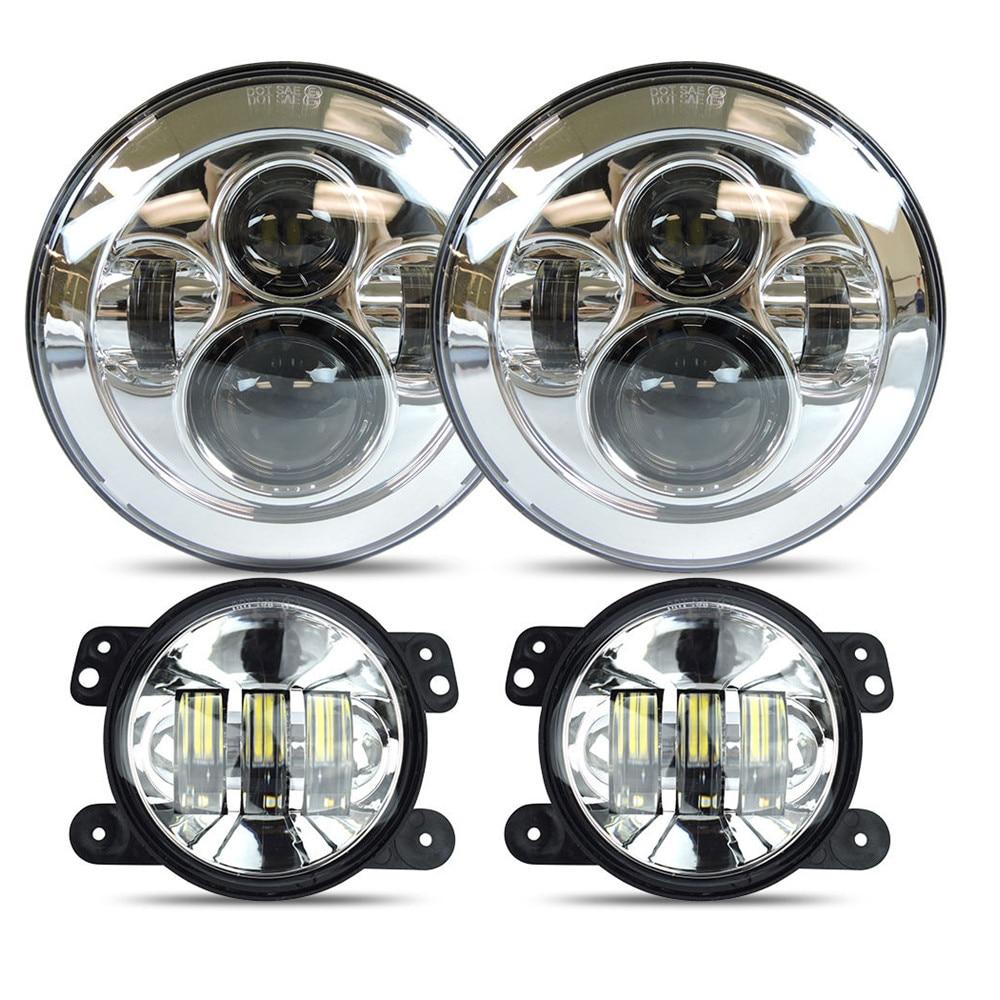 DOT Approved 7 Daymaker LED Headlights + 4  inch LED Fog Lights For Jeep Wrangler JK TJ LJ