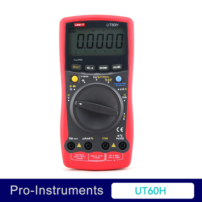 UNI-T UT-60H LCD Auto Ranging Modern Digital Multimeter AC DC Volt Amp Ohm Capacitance Temp Tester excel dt9205a 3 lcd digital multimeter black orange 1 x 6f22