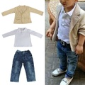 New 3pcs kids clothing sets roupas infantis menino jacket V-neck long sleeve suit + white T-shirt + jeans free shipping