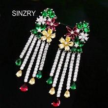 SINZRY Luxury bridal drop earrings elegant colorful cubic zirconia tassel waterdrop earrings brilliant jewelry accessory