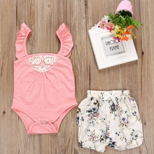 Summer Strap Bodysuits Jumpsuit+Floral Print Shorts Suits Casual Costumes Summer Baby Girls Fashion Cloth Sets