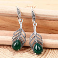 GZ Palm-leaf Fan Drop Earring Natural Black Green Yellow Agate White Opal 925 Silver for Women S925 Sterling Silver Earrings