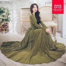 8724a198d2 2018 atmosphere bohemian pleated long-sleeved sexy deep V big swing high  waist dress