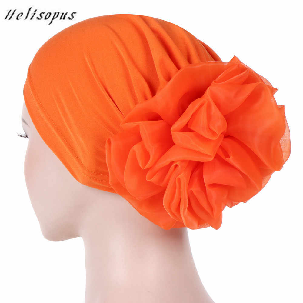 Helisopus Women New Muslim Pure Color Turban Big Flowers Headband Ladies Elastic Headwear Covers Hair Accessories