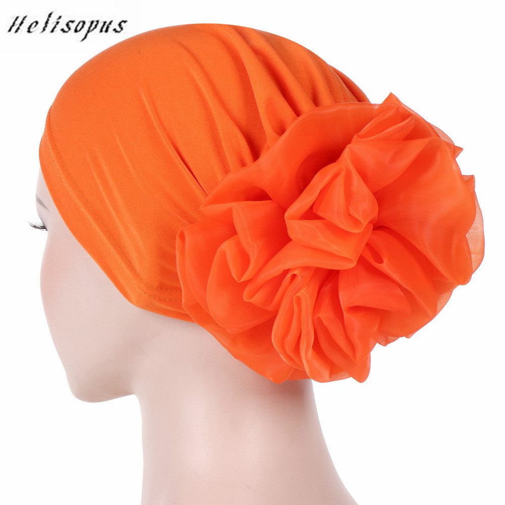 Helisopus Women New Muslim Pure Color Turban Big Flowers Headband Ladies Elastic   Headwear   Covers Hair Accessories