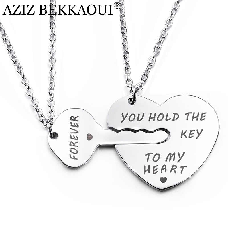 AZIZ BEKKAOUI Key&Heart Couple Necklace YOU HOLD THE KEY TO MY HEART FOREVER Pendant Necklaces for Lovers Fashion Jewelry Gift
