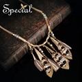 Especial Moda de Nueva Maxi Collares y Colgantes chapados en Oro de La Vendimia Collar de la Declaración de la Pluma Regalos de La Joyería para Las Mujeres XL16039