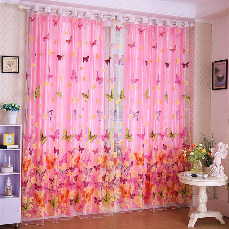 270cmx100cm 200cm x 100 cm butterfly print sheer window panel curtains room divider new for. Black Bedroom Furniture Sets. Home Design Ideas