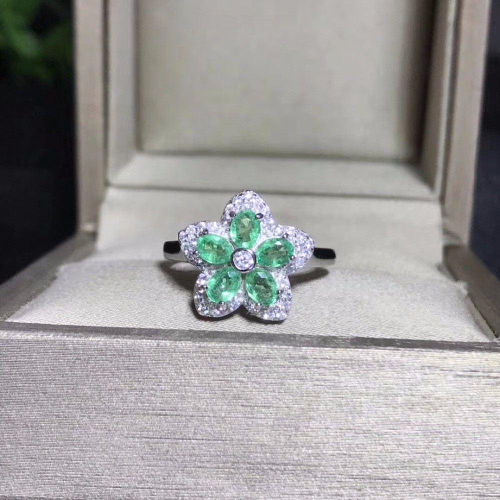 Uloveido 925 Sterling Silver Ring Women Ring Natural Emerald Ring Beautiful Color with Certificate Velvet Box