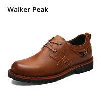 Barato Walker peak hecho a mano 100% cuero genuino hombres zapatos casuales moda diseñador ocio zapatos planos marca de lujo zapatos para hombre marrón