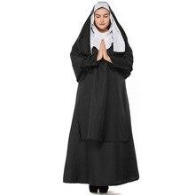 Umorden Deluxe Adult Mother Nun Costume Women Plus Size Long Dress Gown Halloween Classic Costumes Cosplay
