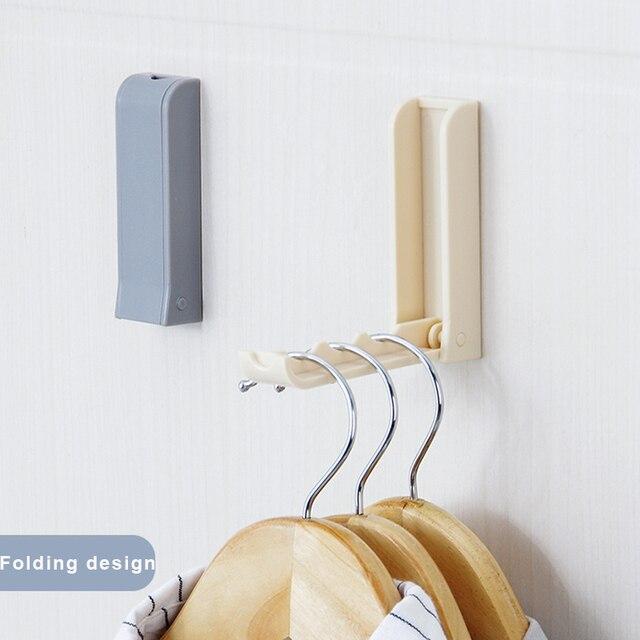 Plastic Folding Clothes Hanger Wall Hook Closet Organizer Shelves Coat Rack  Storage Shelf For Kitchen Bathroom