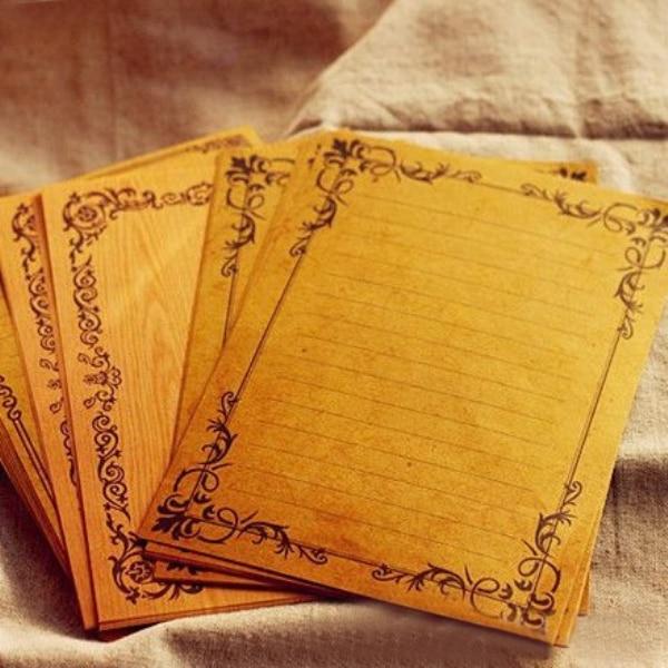 8Sheets/Lot European Style Vintage Letter Lace Vine Wood Kraft Paper Letter Writing Home DIY Stationery H0256