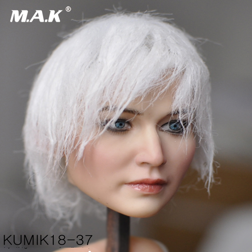 Collection Figure Accessory 1/6 Kumik KM18-37 Female Paste Head Sculpt Figure Model PVC Hobbies Model Toys for 1:6 Female Body 1 6 fs010 phoebe agent kristen stewart american ultra movie full sets figure with head sculpt female body shoes jeans model m3n
