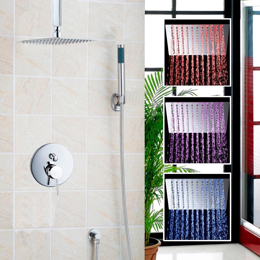 8 1216 LED Bathrome Bathtub Rainfall Shower head Polished Wall Mounted Swivel Mixer Taps Shower Faucets Set Chrome Finish