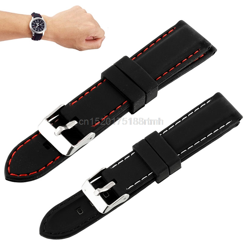 Watchband Men Boys Silicone Rubber Watch Strap Bands Waterproof 20mm 22mm 24mm Watches Belt