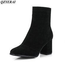 QZYERAI Autumn and winter high heels side zippers Martin boots women boots women's shoes size 34-44