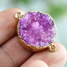 TkuAmigo Natural Geode Pendant Drusy Pendant Geode Stone Connecter for Jewelry Handmade Wholesale B032(China)