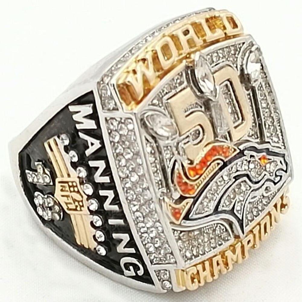 Prix pour Drop Shipping 2016 Nouvelle Arrivée 2015 Denver Broncos Super Bowl Championnat Anneau Manning pour homme sport Meilleurs Fans Cadeau