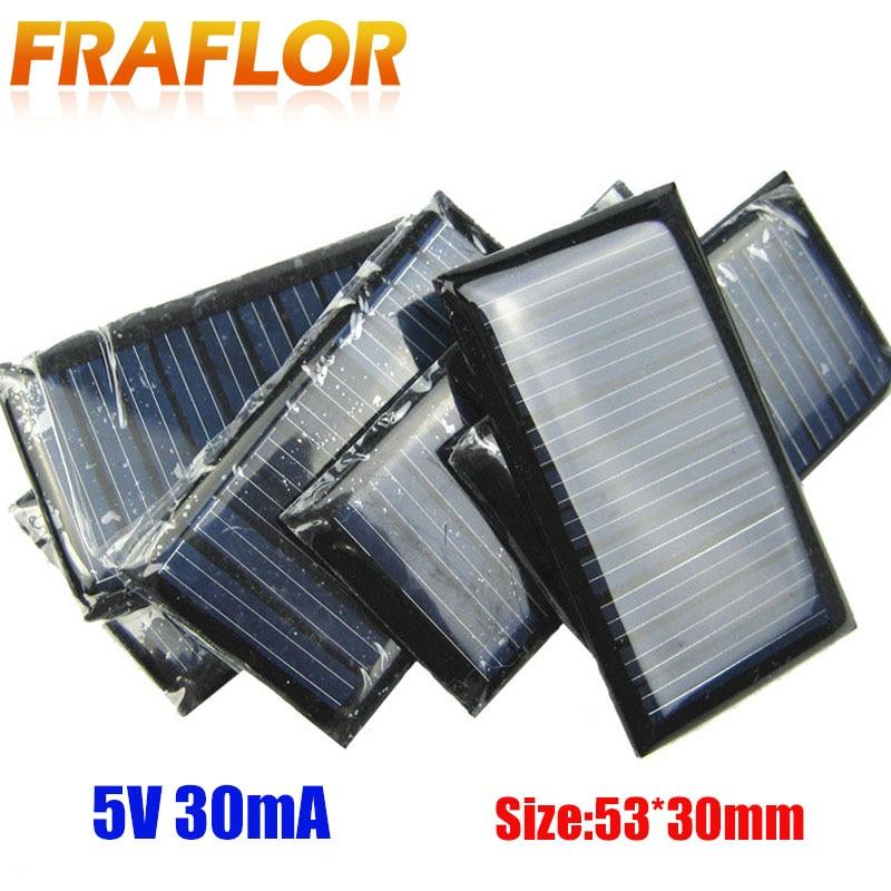 10pcs 5V 30mA Micro Mini Power Solar Cells Panel Board Set For DIY Toy 53*30mm