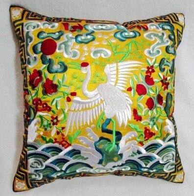 Полностью вышитые китайские наволочки для подушек, рождественские декоративные этнические винтажные сатиновая подушка для дивана и стула - Цвет: Цвет: желтый
