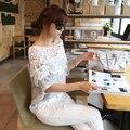 Las mujeres Atan Floral Cuello Chal de Verano Tops Batwing Manga Larga Sección Camiseta Y8664