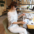 Women Lace Floral Shawl Collar Summer Tops Long Section Batwing Sleeve T Shirt Y8664