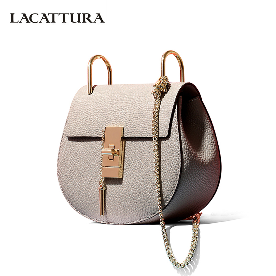 LACATTURA women messenger bags cowhide leather handbag ladies Chain shoulder bags clutch fashion crossbody bag brand candy color lacattura luxury handbag chain shoulder bags small clutch designer women leather crossbody bag girls messenger retro saddle bag