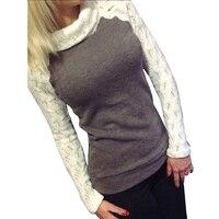 Fashion Autumn Women T Shirt Striped Printed Turtleneck Splicing Full Long Sleeve Casual T Shirts Female