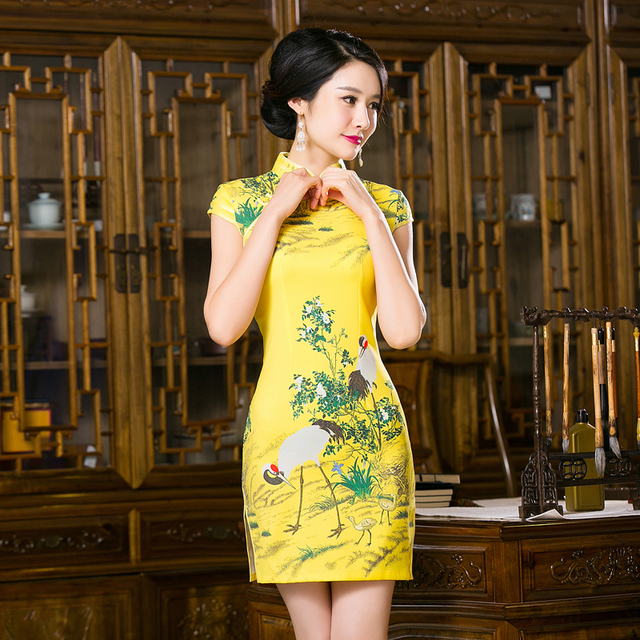 Free Shipping New Sale Qipao Chinese Women's Clothing Yellow Cheong-sam Dress Floral Qipao For Women