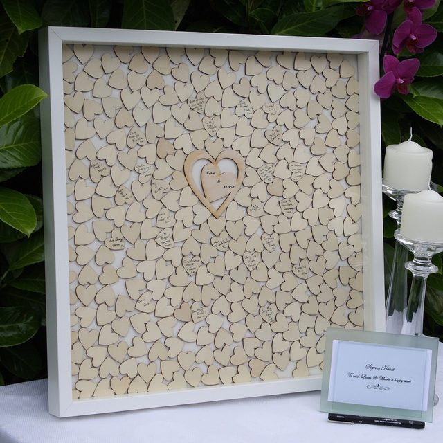 online shop wedding guest bookpersonalized guest book for signaturealternative drop box framerustic wood heart guest book wedding decor aliexpress