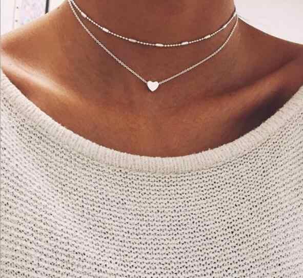 Tenode Vintage estilo punk de múltiples capas ancla de hueso de pescado hojas de perlas simuladas collares colgantes para Mujer Accesorios bohemios regalo