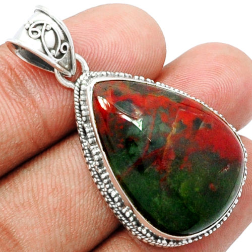 Genuine Blood Stone Pendant 100 925 Sterling Silver Jewelry Jewellery 44mm AP0912