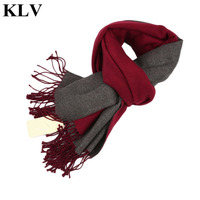 KLV New Winter Double Sided Dual Color Cashmere Scarves Fashion Charming Soft Women Solid Color Thicked
