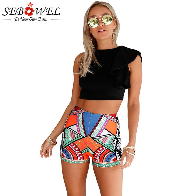 SEBOWEL 2018 Boho Beach Summer Shorts Women Feminino Multicolor Tribal Print Party Sexy High Waist For