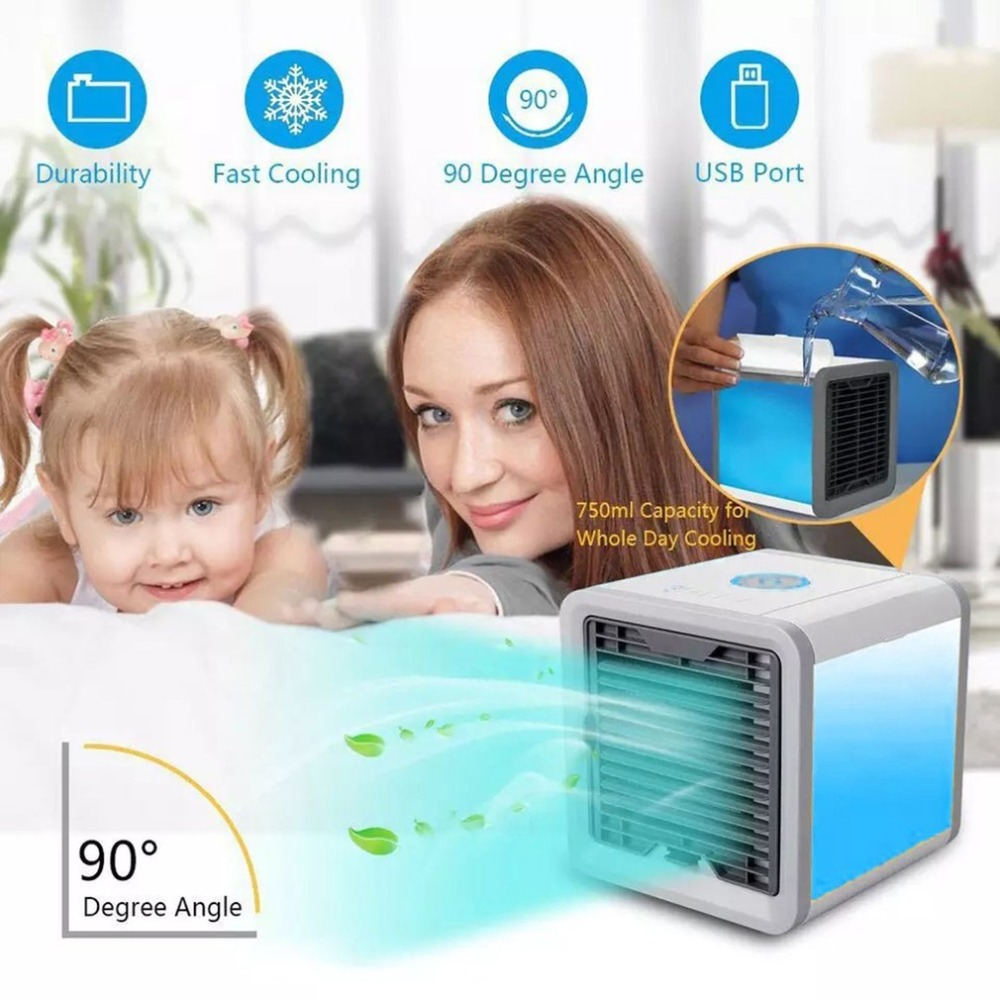 Mini Air Conditioner Portable Air Cooling Fan Air Cooler Fans with LED Lights USB Cable Humidifier Purifier for Home Office new portable outdoor mini fans with led lamp light table usb fan spray water humidifier personal air cooler conditioner for home