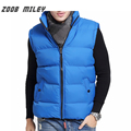 ZOOB MILEY Men Winter Jackets Sleeveless Vests Solid Color Fashion Warm Thickening Waistcoat Plus Size S-2XL Causal Outerwear