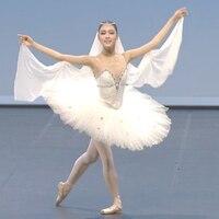 Donne Balletto di Danza Concorrenza Costume adulto Bianco Tutu Professionale Pattinaggio di Figura Vestito Per Le Ragazze Vestito Lago Dei Cigni Balletto