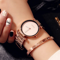 Guou Fashion Top 2019 Brand Simple Luxury Rose Gold Clocks Women Watches Stainless Steel Watch Gift Relogio Feminino Reloj Mujer