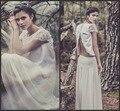Laure de Sagazan Vestidos de Novia Sexy Sin Respaldo de la vendimia de Dos Piezas de Boho de La Gasa Del Cordón de la Playa Vestidos de Novia Con Manga Corta