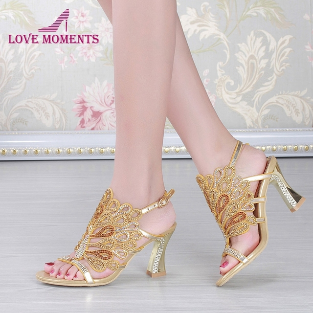 0838e3f211afa9 Gold Blue Summer Sandals Rhinestone Chunky Heel Genuine Leather Sexy Wedding  Shoes Prom Evening Party Dress Shoes 3 Inches Heels
