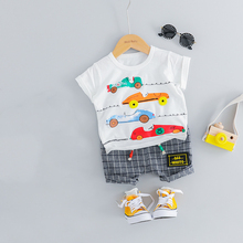 Toddler Baby Boy Summer Clothes Suit Short Sleeve T-shirt & Plaid Shorts 2pcs Newborn Outfit Infant Clothing Cotton Baby's Sets free shipping 2017 summer female baby girls shorts sets infant fly sleeve vest 2pcs suit lollipop
